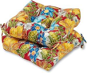 Greendale Home Fashions AZ6800S2-ALOHA-RED Aloha Crimson Outdoor Dining Seat Cushion (Set of 2)