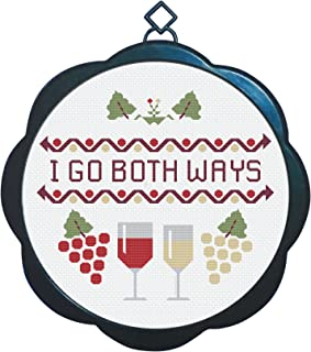 Cross Stitch Embroidery Pattern Kit - Wine Design - Perfect White Elephant Gift Idea, Christmas or Birthday Present