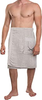 Sansibar Men's Sauna Kilt Sauna Sarong S-XXL with Velcro Fastener Elastic Band and Bag with Embroidered Sabre Logo 100% Co...