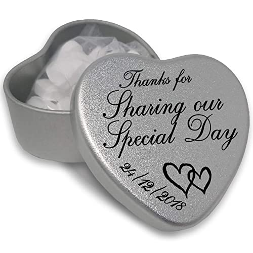 Luxury Personalised Wedding Gifts for Guests, Makes the perfect Keepsake and Momento for your Special Day with mints or chocolates. (Sharing Our Special)
