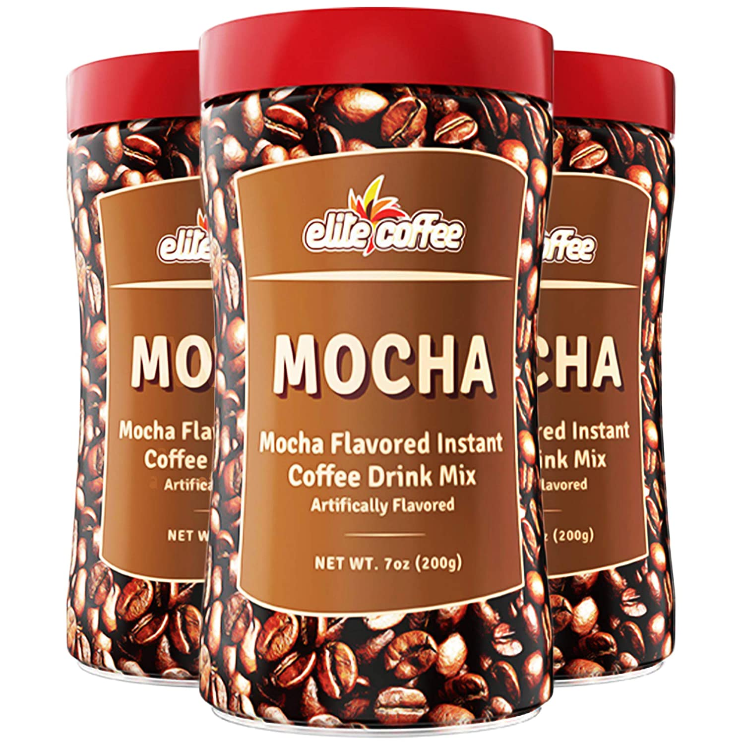 Elite Instant Coffee Mocha Flavored Drink 3 7oz Pack National products Mix Glute Oakland Mall