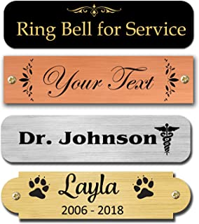 """0.5"""" H x 2"""" W, Brass Nameplates, Metal Plate, Personalized, Custom Engraved Tag, Name Plaque, Square or Round Corners Made in USA (Gloss Black)"""