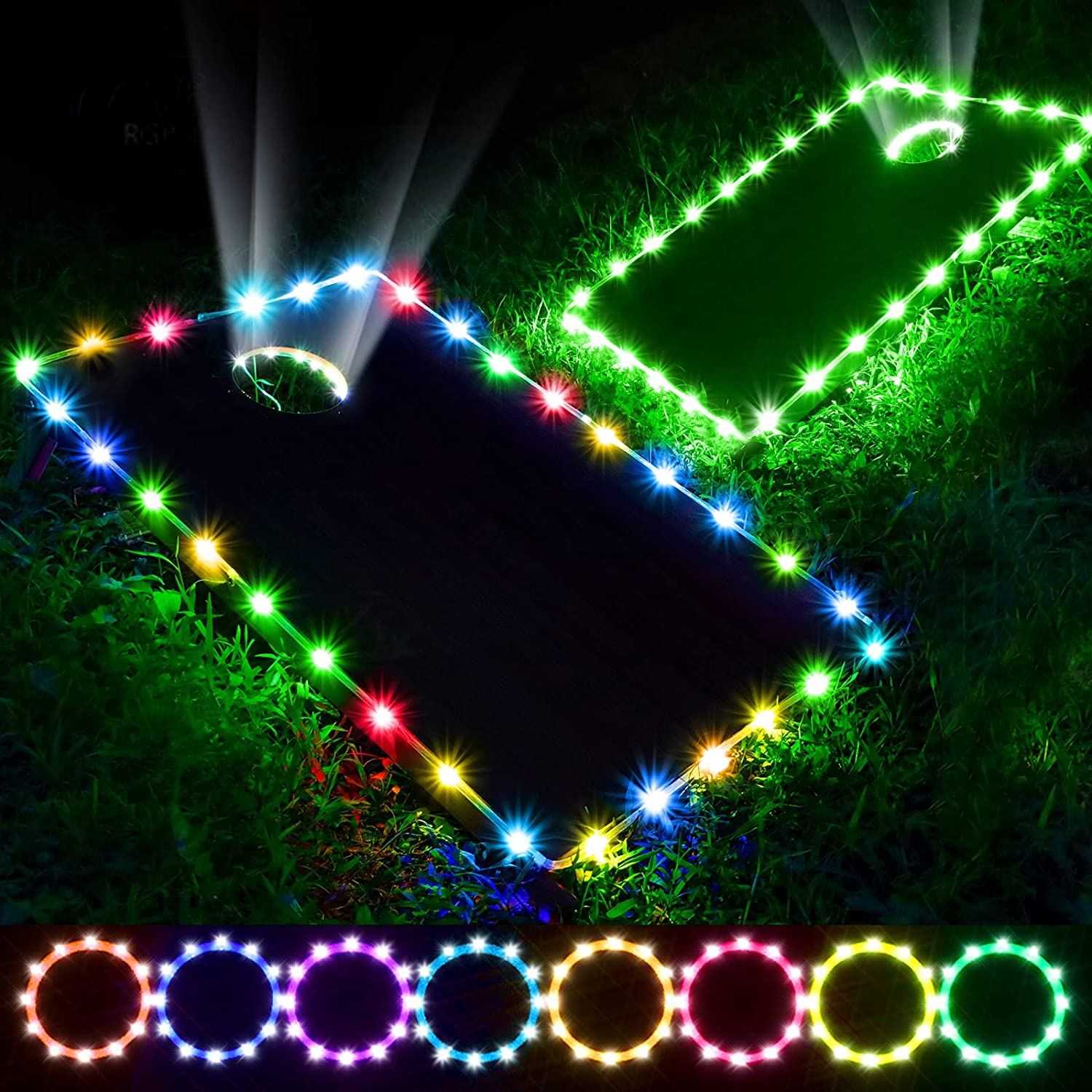 Panapo 2 outlet Set Cornhole Lights for 16 New life Color Hole RGBIC and Board