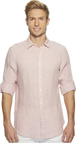 Perry Ellis - Solid Linen Roll Sleeve Shirt