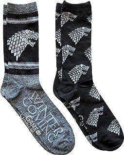 Men's House Stark Game of Thrones Black 2-Pack Casual Socks Standard