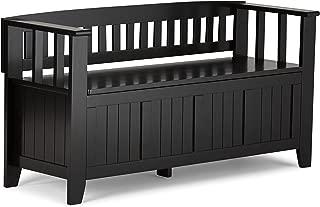 Simpli Home  Acadian Solid Wood 48 inch wide Rustic Entryway Storage Bench in Black