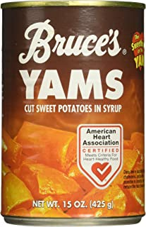 Bruce's, Yams, Cut Sweet Potatoes in Syrup, 15oz Can (Pack of 6) (Choose Can Sizes Below) (15oz Can)