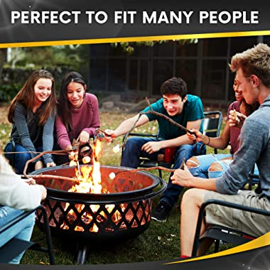 Project One Crossweave Outdoor Fire Pit - 36 Inch Large Bonfire Wood Burning Patio & Backyard Firepit for Outside with Sp