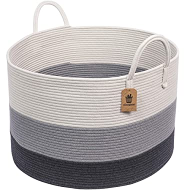 INDRESSME XXXLarge Woven Rope Basket | Wide 21  x 14  Blanket Storage Basket with Long Handles Decorative Clothes Hamper Basket | Extra Large Baskets for Blankets Pillows or Laundry