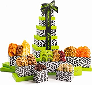 Fresh Nut & Dried Fruit Gift Basket Assortment, Leaf Tower (12 Mix) - Variety Care Package, Birthday Party Food, Holiday A...