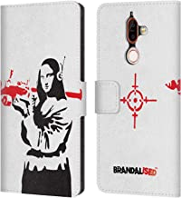 Official Brandalised Mona Launcher Banksy Red and Black Street Art Leather Book Wallet Case Cover Compatible for Nokia 7 Plus