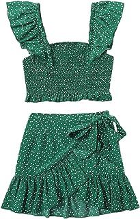 MakeMeChic Women's Two Piece Ruffle Trim Cami Crop Top and Wrap Skirt Set