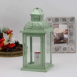 Ninganju 13 Inches Tall Decorative Candle Lantern White Metal Antique Outdoor Hanging Lanterns Great for Wedding, Patio Pa...
