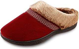 isotoner Women's Recycled Microsuede Mallory Hoodback Slipper, Chili, 7.5-8