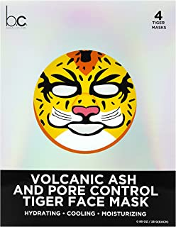 Beauty Concepts Volcanic Ash and Pore Control Tiger Face Mask - 4 Skin Care Sheets