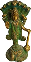 PARIJAT HANDICRAFT Brass Statue of Lord Vishnu Hindu god Idol Sculpture Home Temple décor Gift Pooja Article