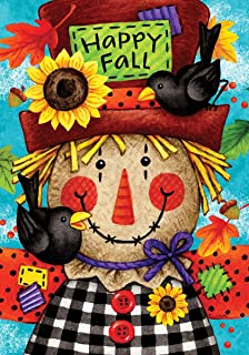 Custom Decor Happy Scarecrow - Happy Fall - Garden Size, Decorative Double Sided, Licensed and Copyrighted Flag - Printed in The USA Inc. - 12 Inch X 18 Inch Approx. Size