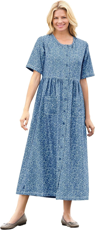Woman Within Women's Plus Size 特価 Short-Sleeve 新商品 Denim Dress