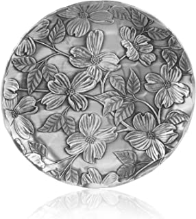 Coaster, Dogwood, Hand-hammered Aluminum, Keeps Tabletops Safe, 4.5 Inch Round Coaster, Handmande in the USA by Wendell August Forge