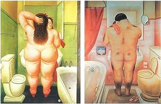 Cuadros de baño Botereo sobre Madera/Placas Madera. Set de 2 Cuadros de 19 cm x 25 cm x 4 mm unid. Adhesivo FÁCIL COLGADO. Adorno Decorativo. Decoración Pared hogar
