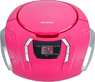 Sylvania SRCD261-B-Pink Portable CD Boombox with AM/FM Radio, Pink (Certified Refurbished)