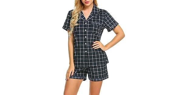 Goldenfox Women/&Men Short Sleeve Sleepwear Nightwear Soft Comfort Pajama Dress Long Strip Sleep Shirt S-XXL
