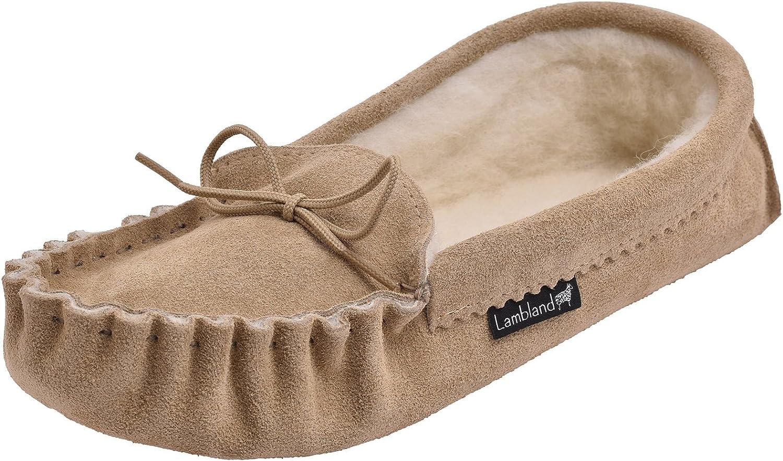 Lambland Mens//Ladies Premium Wool Lined Moccasin Slippers