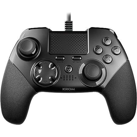 Krom KAISER - NXKROMKSR - Gamepad alambrico, diseñado para competicion, Joystick y gatillos analogicos, palancas traseras configurables, compatible con PC, PS3 y PS4