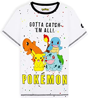 Pokemon T Shirt Enfant Garçon, Pikachu T Shirt Manches Courtes, 100% Coton 5-12 Ans