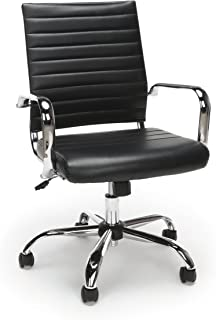Essentials Soft Ribbed Leather Executive Conference Chair with Arms - Ergonomic Adjustable Swivel Chair, Black/Chrome