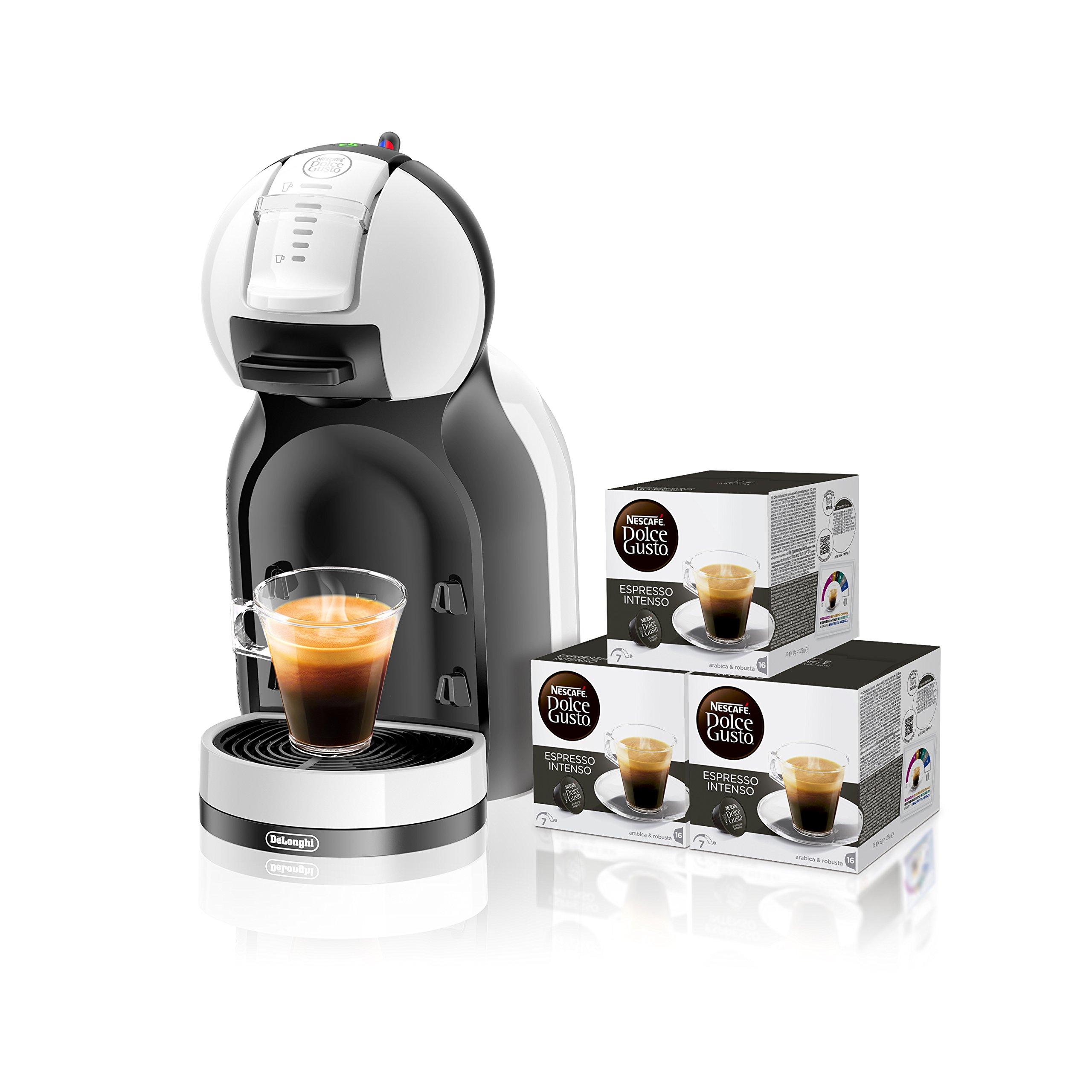 Pack DeLonghi Dolce Gusto Mini Me EDG305.WB - Cafetera de cápsulas, 15 bares de presión, color blanco y negro + 3 packs de café Dolce Gusto Espresso Intenso: Amazon.es: Hogar
