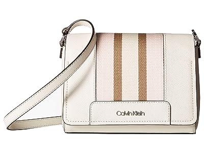 Calvin Klein Clara Saffiano Leather Crossbody (White) Handbags