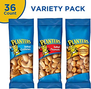 PLANTERS  Variety Packs (Salted Cashews, Salted Peanuts & Honey Roasted Peanuts) Individual Bags of On-the-Go Nut Snacks | No Cholesterol or Trans Fats | Source of Fiber and Healthy Fats, 36 Count