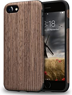 TENDLIN iPhone 7 Case/iPhone 8 Case with Wood Grain Outside Soft TPU Silicone Hybrid Slim Case for iPhone 7 and iPhone 8 (Black Rose Wood)