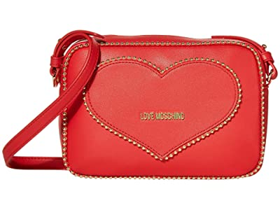 LOVE Moschino Embroidery Of Love Shoulder Bag (Red) Handbags