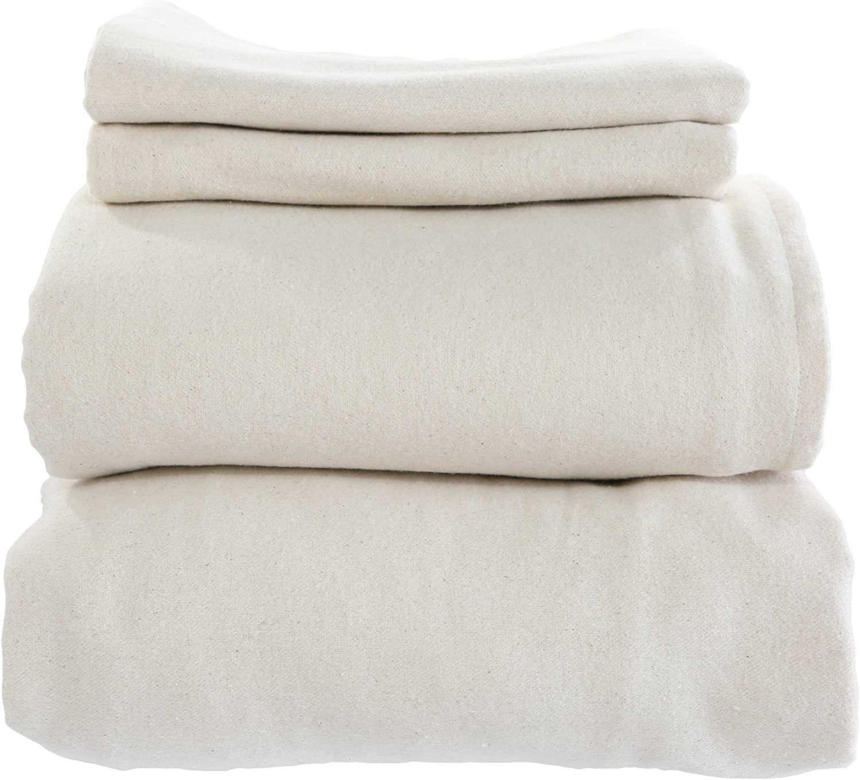 Whisper Organics 100% Organic Cotton Flannel Bed Sheet Set - GOTS Certified (California King, White)
