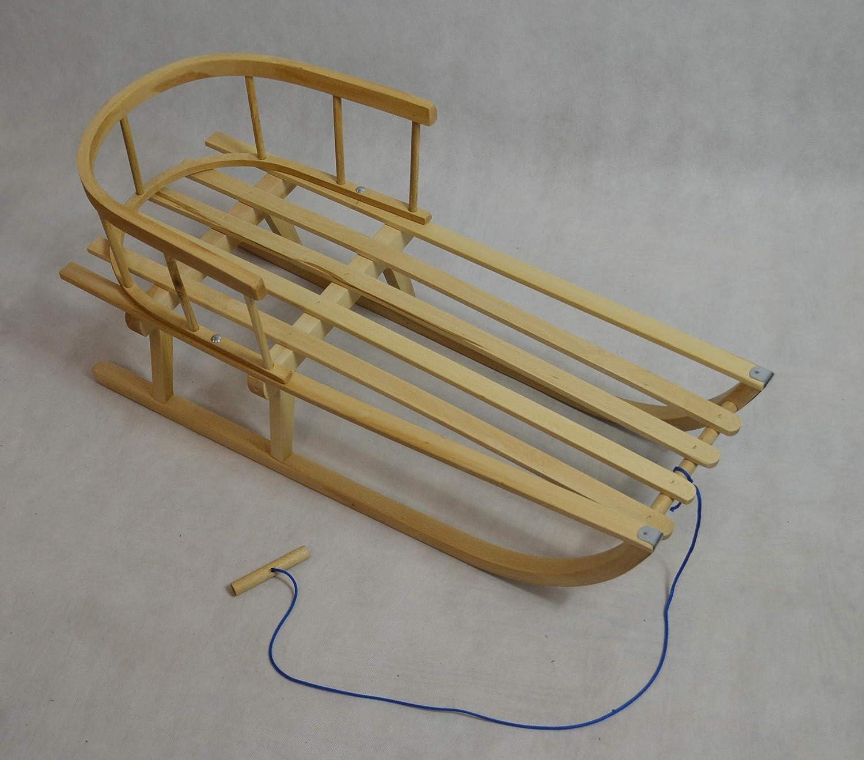 Trineo de madera con saco y respaldo de lana