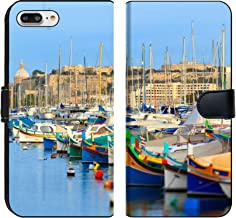 MSD Premium Phone Case Designed for iPhone 8 Plus and iPhone 7 Plus Flip Fabric Wallet Case Image ID: 21599922 Boats in The Bay of Valletta in Malta