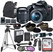 دوربین SLR دیجیتال Canon EOS Rebel T7 با لنز تثبیت کننده تصویر Canon EF-S 18-55mm ، کارت های حافظه Sandisk 32 GB SDHC ، بسته لوازم جانبی (تمدید شده)