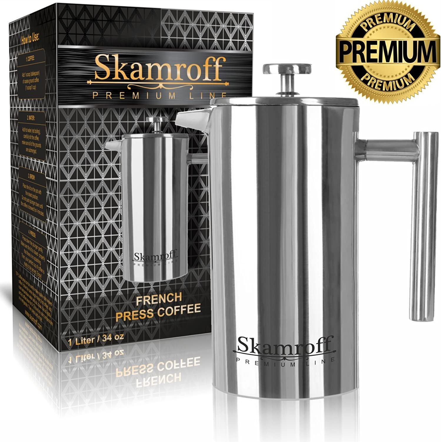 Skamroff Premium Stainless Steel French Coffee Press – Double Wall, Keep Warm and Safe for Making Perfect Coffee or Tea – Size  1L, 34oz, 8 Cups