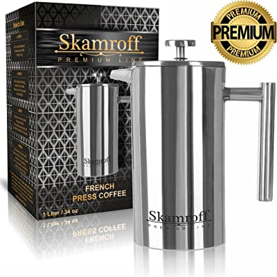 Skamroff Premium Stainless Steel French Coffee Press – Double Wall, Keep Warm and Safe for Making Perfect Coffee or Tea – Size: 1L, 34oz, 8 Cups