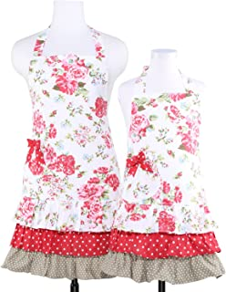 NEOVIVA Cotton Canvas Kitchen Apron Set for Mama and Me with Pockets, Heavy Duty Flirty Aprons for Mother and Daughter Clothes for Cooking, Baking, BBQ and Gardening, Style Doris, Floral Lollipop Red