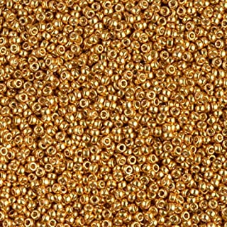 Miyuki Round Rocaille's Seed Beads Size 15/0 8.2g Duracoat Galvanized Gold