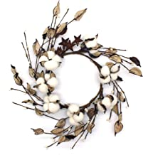 CVHOMEDECO. Primitives Rustic Pod Pip Berries and Autumn Leaves with Rusty Barn Stars Wreath, 14-Inch