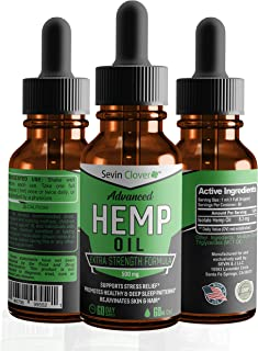 Nutrend Clover Hemp Oil Extract – NON GMO Omega 3 Formula for Pain, Anxiety and Stress Relief - Made in USA - Natural Hemp Oil Deep Sleep Drops for Anti-inflammatory, Immune and Joint Support - 500 mg