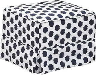 Storkcraft Polka Dot Upholstered Ottoman, White/Navy, Cleanable Upholstered Comfort Rocking Nursery Ottoman