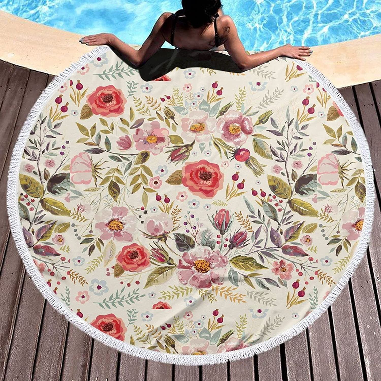 Multicolor Flower Translated Round Special price for a limited time Beach Blank Microfiber Towel