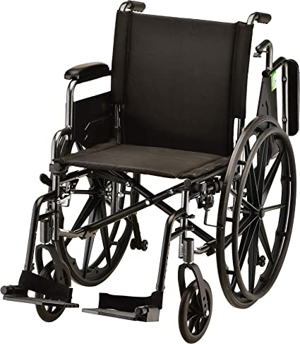 """Amazon.com: NOVA Lightweight Wheelchair with Flip Up Desk Arms (for Easy  Transfer), Adjustable & Easy Release Footrests, Safety Anti-Tippers, Choose  from 3 Seat Widths - 16"""", 18""""& 20"""", Weighs only 32 lbs. :"""