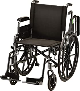 """NOVA Lightweight Wheelchair with Flip Up Desk Arms (for Easy Transfer), Adjustable & Easy Release Footrests, Safety Anti-Tippers, Choose from 3 Seat Widths - 16"""", 18""""& 20"""", Weighs only 32 lbs."""