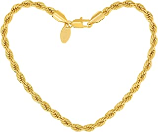 Lifetime Jewelry Anklets for Women Men & Teen Girls [ 5mm Rope Chain Ankle Bracelet ] 20X More 24k Gold Plating Than Other Foot Jewelry for Beach & Party - Lifetime Replacement Guarantee 9-11 inches